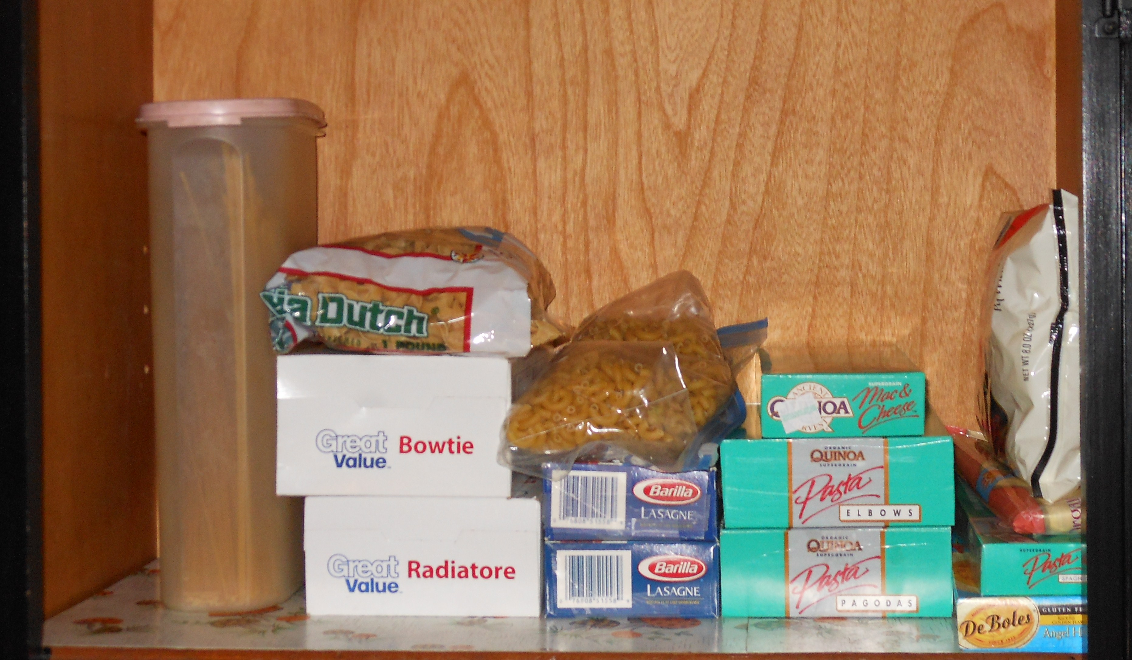 BEFORE Photo of pasta shelf (closeup)