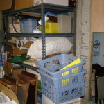 Overstuffed Storage Shelves on Right Side